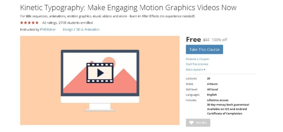 FREE Udemy Online Course on Kinetic Typography Make Engaging Motion Graphics Videos Now