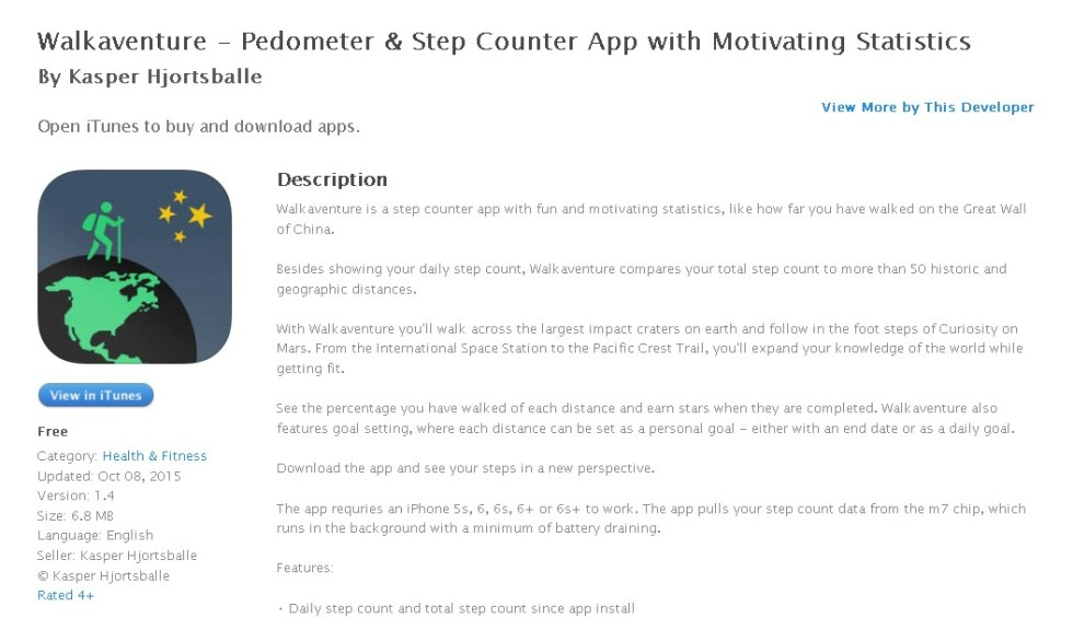 FREE iOS APP Walkaventure - Pedometer & Step Counter App with Motivating Statistics