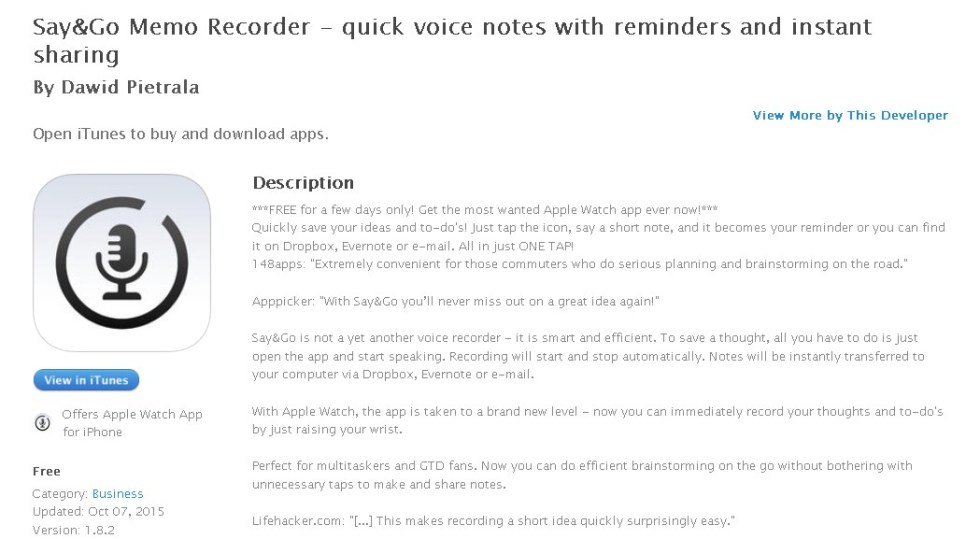 FREE iOS App Say&Go Memo Recorder - quick voice notes with reminders and instant sharing