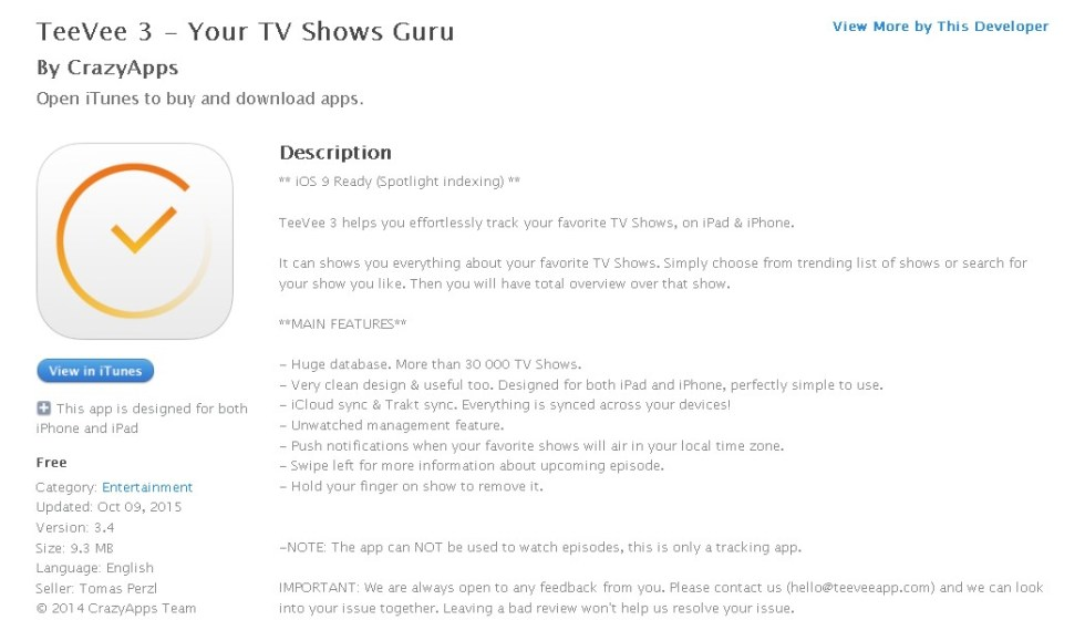 FREE iOS App TeeVee 3 - Your TV Shows Guru By CrazyApps