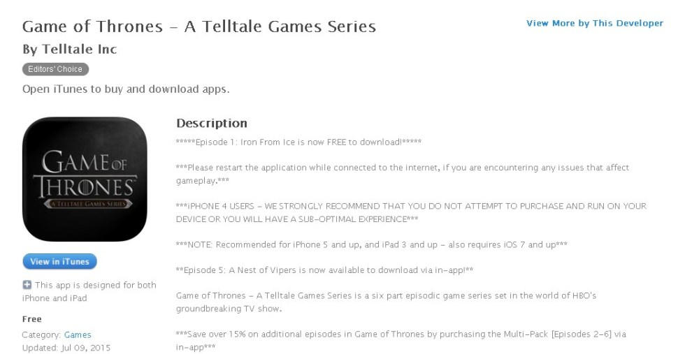 FREE iOS Game Game of Thrones - A Telltale Games Series By Telltale Inc