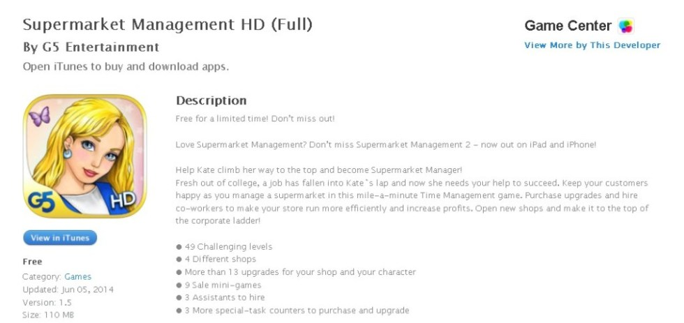 FREE iOS Game Supermarket Management HD (Full) By G5 Entertainment