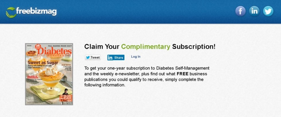 FREE one-year subscription to Diabetes Self-Management and the weekly e-newsletter
