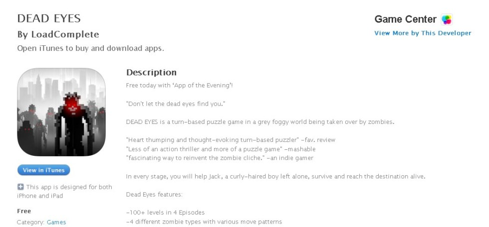 Free IOS Game DEAD EYES By LoadComplete
