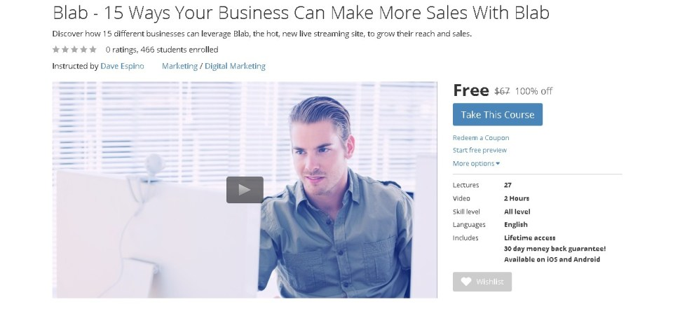 Free Udemy Course on 15 Ways Your Business Can Make More Sales With Blab