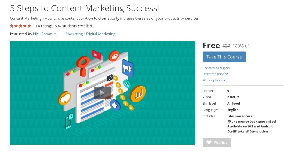 Free Udemy Course on 5 Steps to Content Marketing Success!  (2)