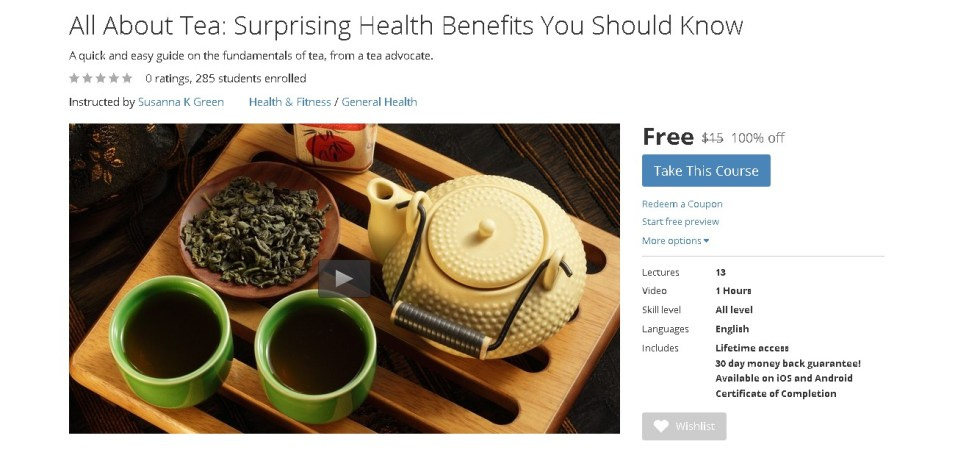 Free Udemy Course on All About Tea Surprising Health Benefits You Should Know