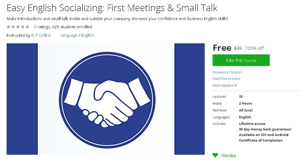 Free Udemy Course on Easy English Socializing First Meetings & Small Talk