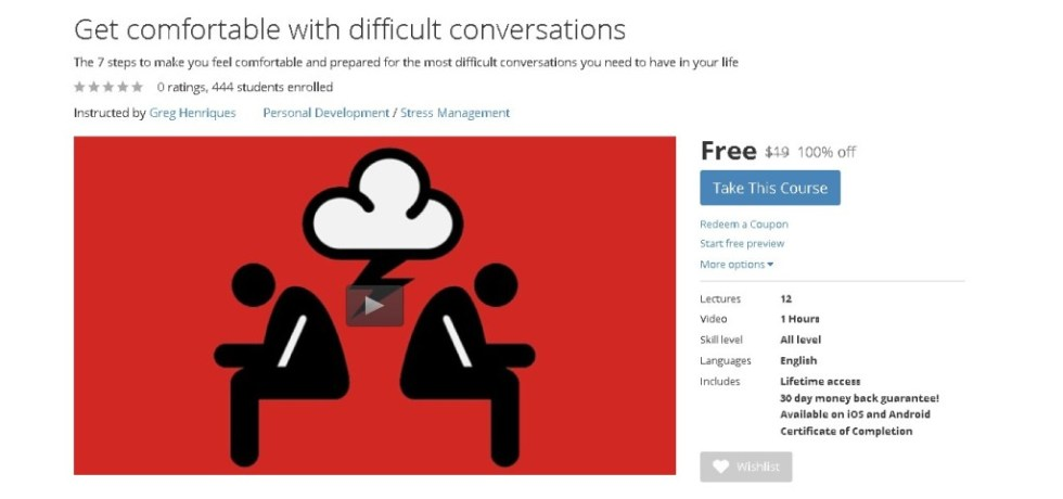 Free Udemy Course on Get comfortable with difficult conversations (2)