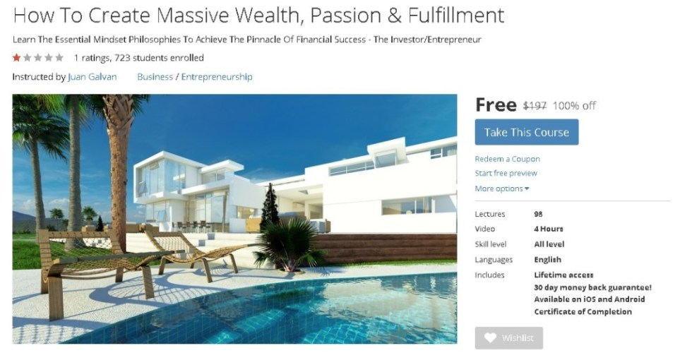 Free Udemy Course on How To Create Massive Wealth, Passion & Fulfillment