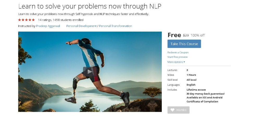 Free Udemy Course on Learn to solve your problems now through NLP