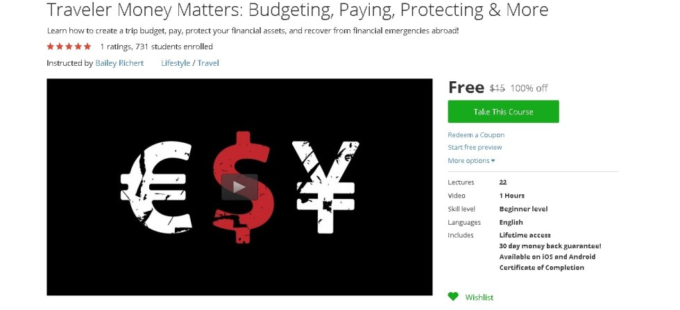 Free Udemy Course on Traveler Money Matters Budgeting, Paying, Protecting & More  (2)