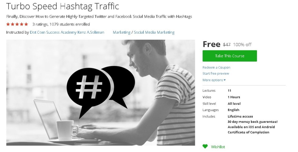 Free Udemy Course on Turbo Speed Hashtag Traffic