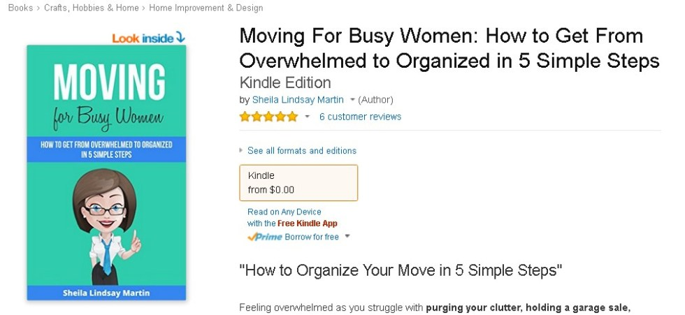 Free eBook at AmazonMoving For Busy Women How to Get From Overwhelmed to Organized in 5 Simple Steps