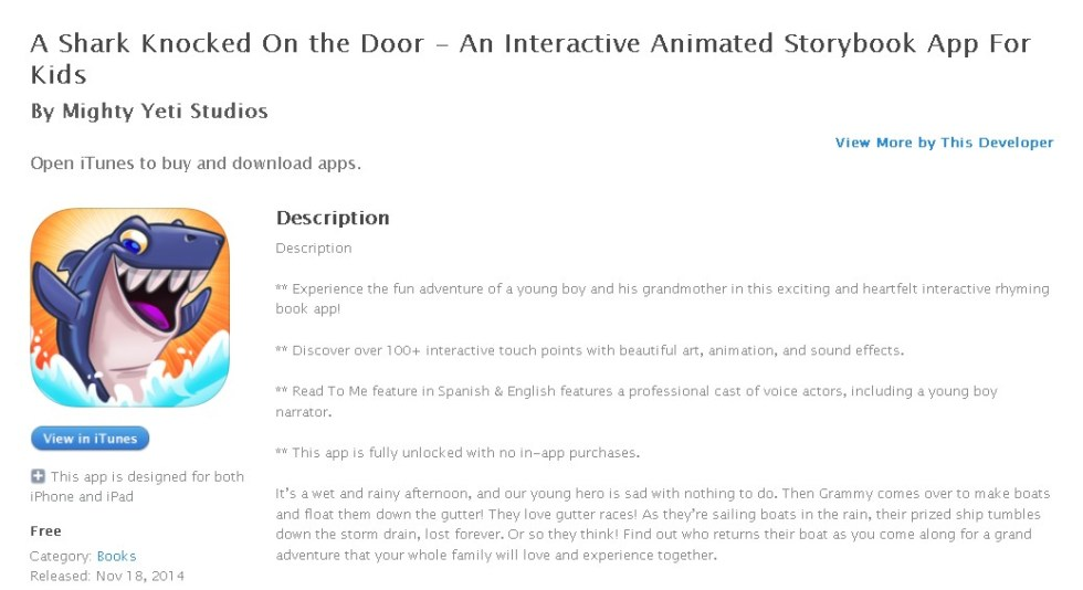 Free iOS Book A Shark Knocked On the Door - An Interactive Animated Storybook App For Kids