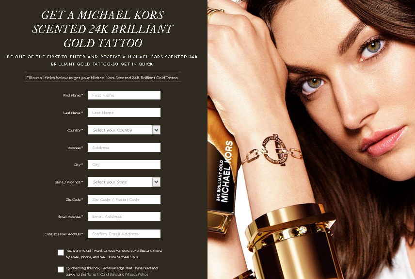 Get a Michael Kors Scented 24K Brilliant Gold Tattoo