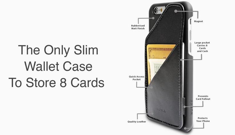 Huskk Slim Black Leather iPhone Case