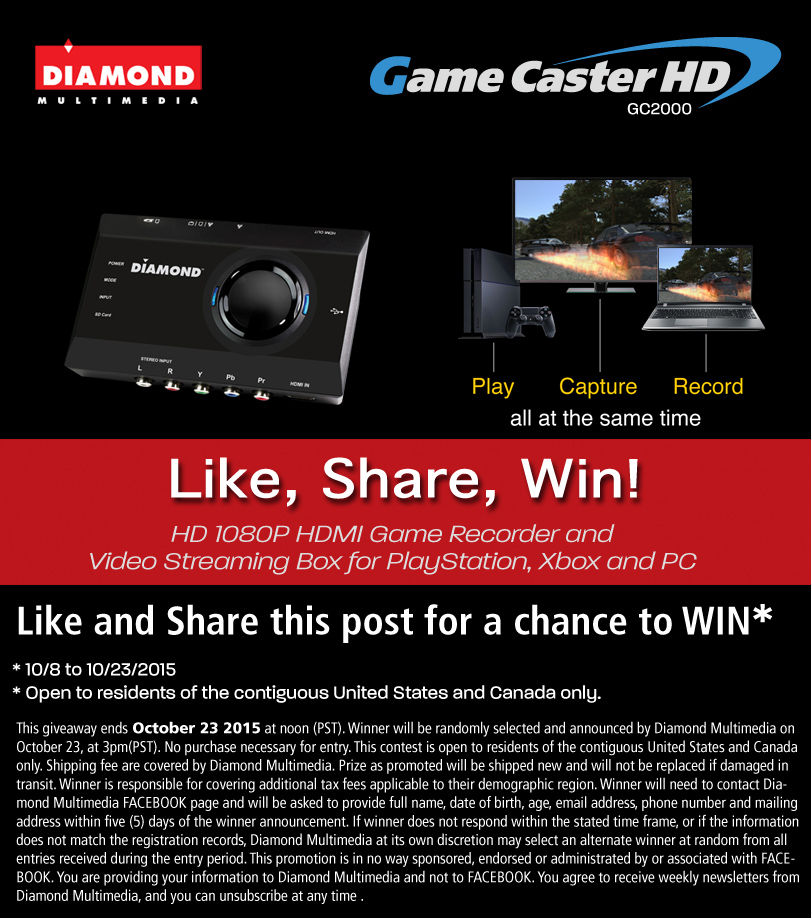 WIN a Diamond GameCaster GC2000 HD 1080P Game Capture