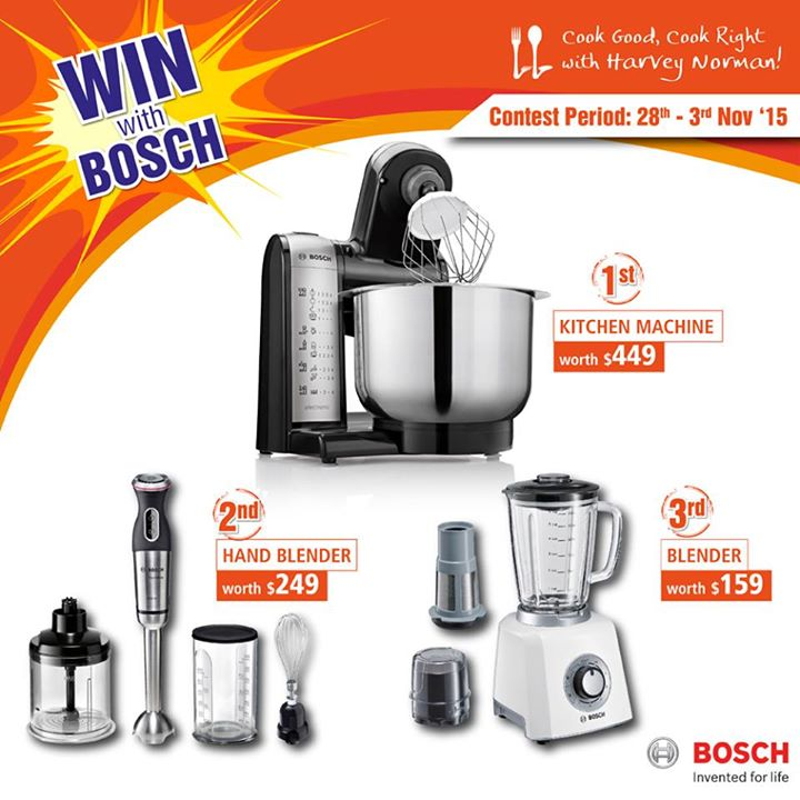 WIN exclusive prizes from Bosch at Harvey Norman Singapore