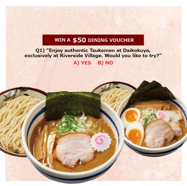 Win a $50 Daikokuya Dining Voucher by participating in Daikokuya's Like, Comment and Share Contest