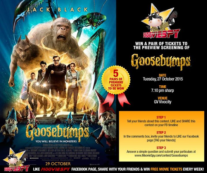 Win a pair of tickets to the preview screening of Goosebumps Movie starring Jack Black