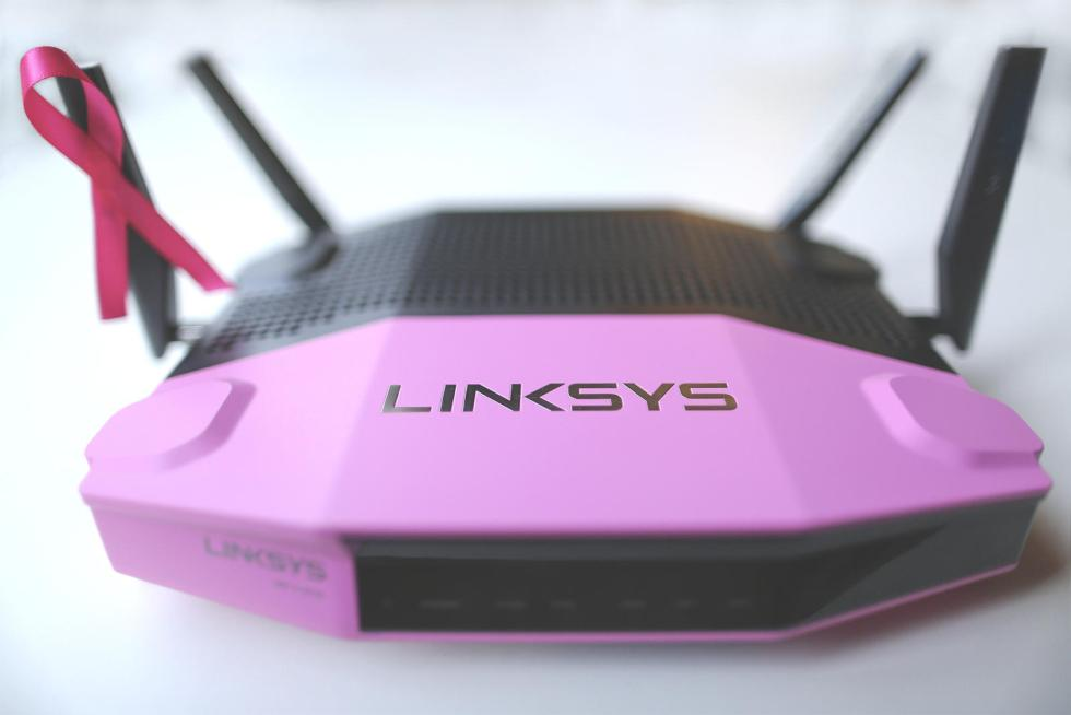 Crave giveaway For breast cancer awareness, a pink Linksys Wi-Fi router at CNET