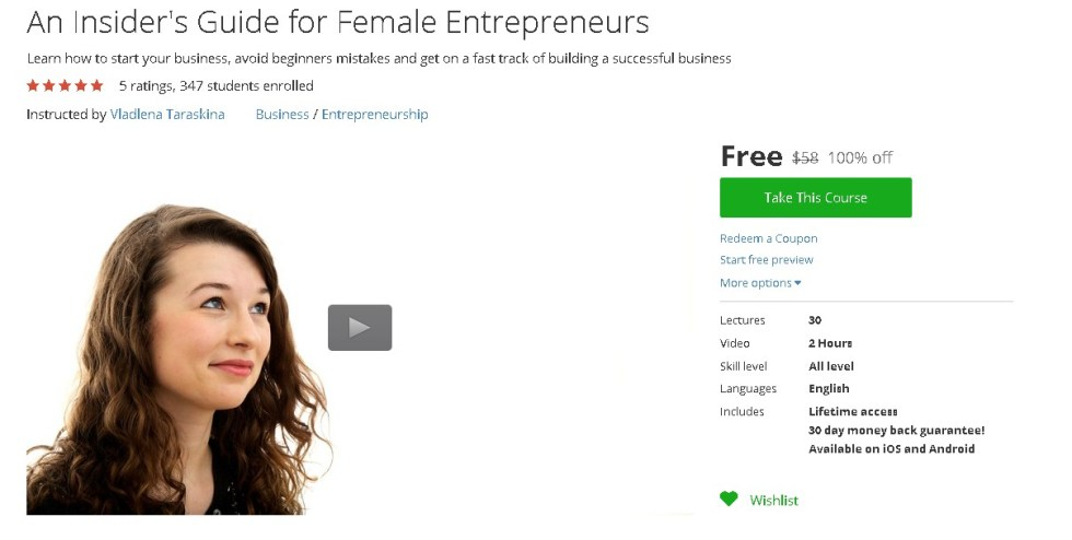 Free Udemy Course on An Insider's Guide for Female Entrepreneurs