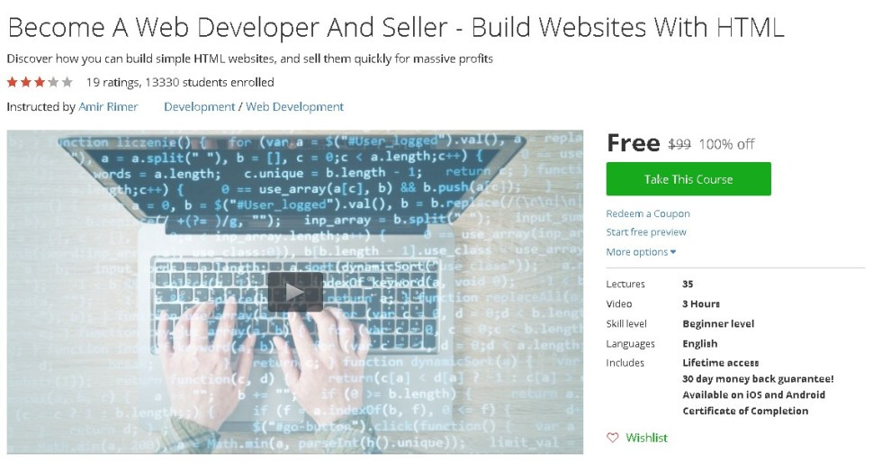 Free Udemy Course on Become A Web Developer And Seller - Build Websites With HTML