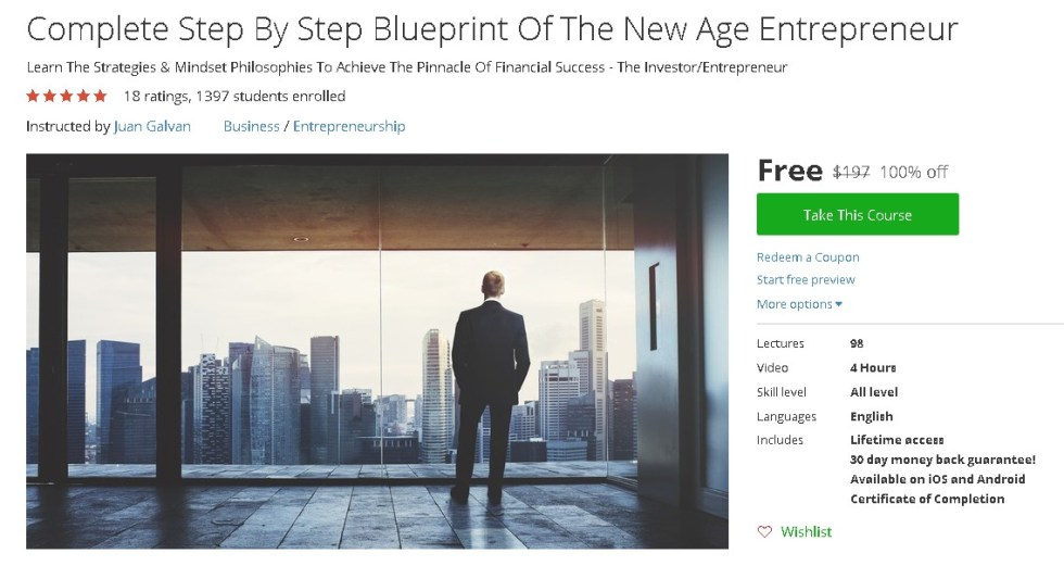 Free Udemy Course on Complete Step By Step Blueprint Of The New Age Entrepreneur