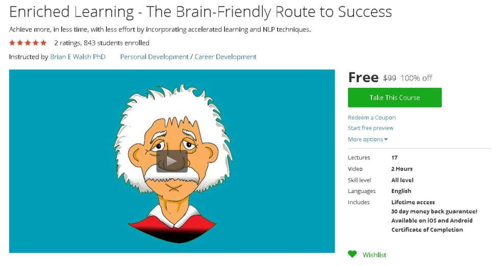 Free Udemy Course on Enriched Learning - The Brain-Friendly Route to Success