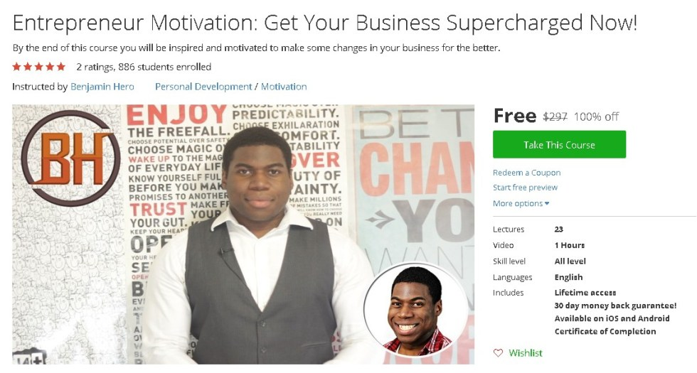 Free Udemy Course on Entrepreneur Motivation Get Your Business Supercharged Now!
