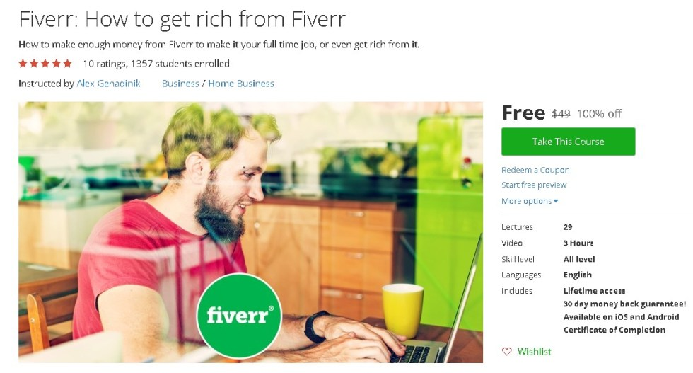Free Udemy Course on Fiverr How to get rich from Fiverr