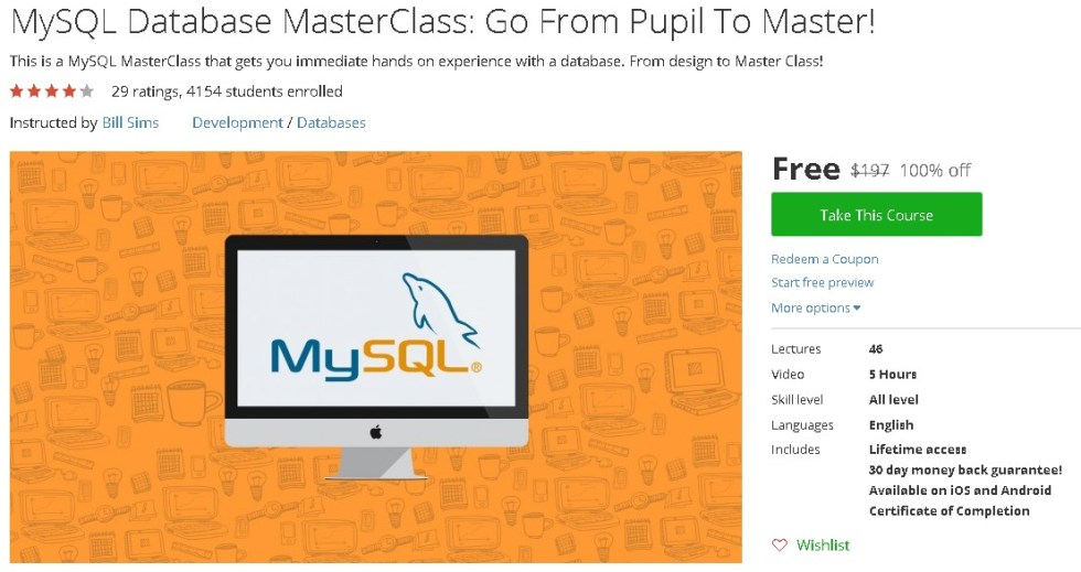 Free Udemy Course on MySQL Database MasterClass Go From Pupil To Master!