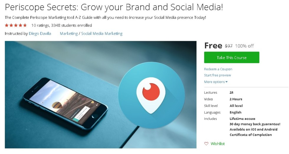 Free Udemy Course on Periscope Secrets Grow your Brand and Social Media!