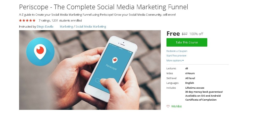 Free Udemy Course on Periscope - The Complete Social Media Marketing Funnel