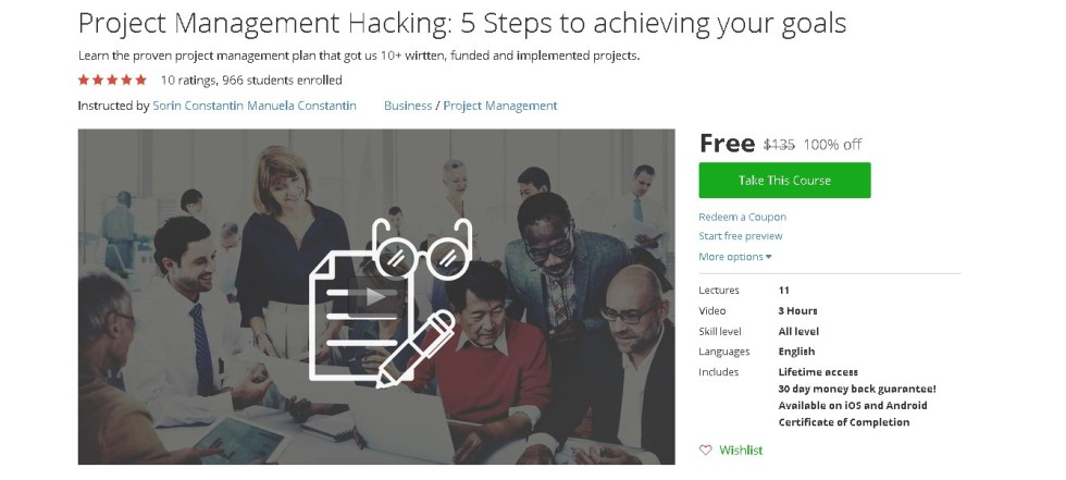 Free Udemy Course on Project Management Hacking 5 Steps to achieving your goals
