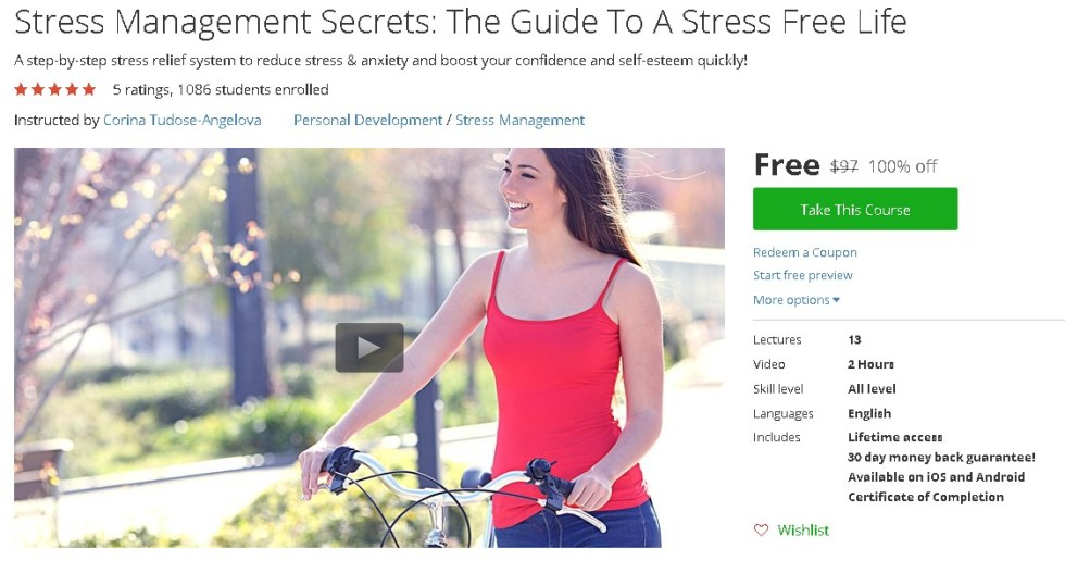Free Udemy Course on Stress Management Secrets The Guide To A Stress Free Life