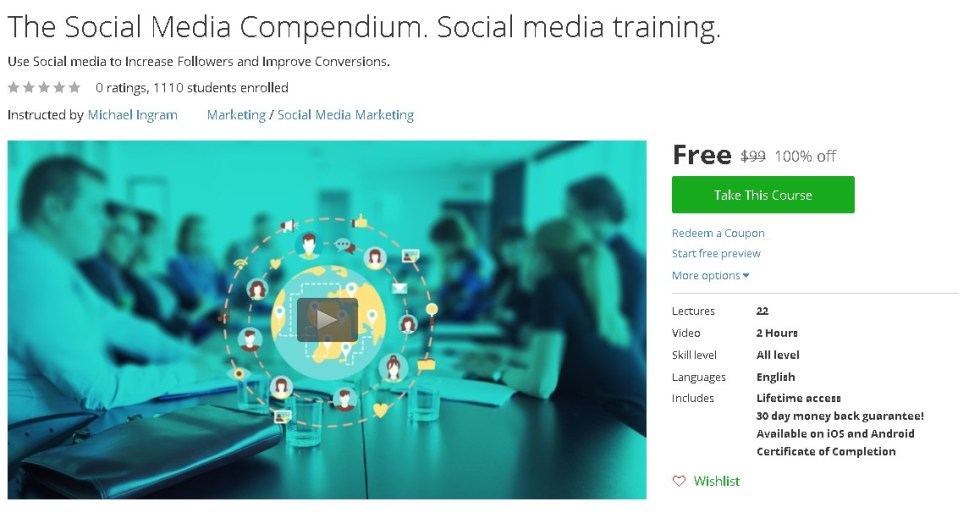 Free Udemy Course on The Social Media Compendium. Social media training.