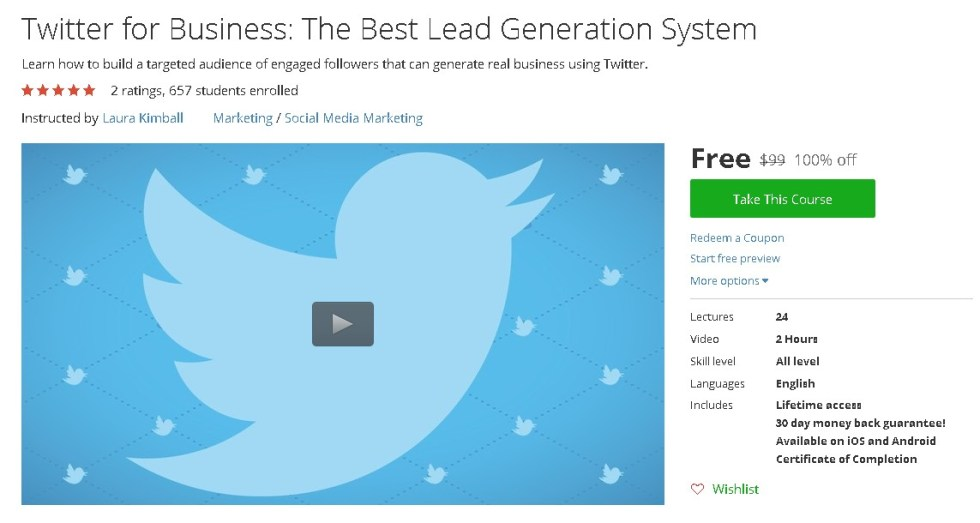 Free Udemy Course on Twitter for Business The Best Lead Generation System
