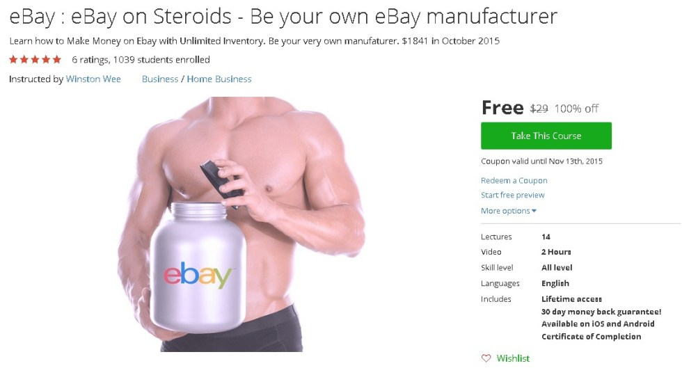 Free Udemy Course on eBay  eBay on Steroids - Be your own eBay manufacturer