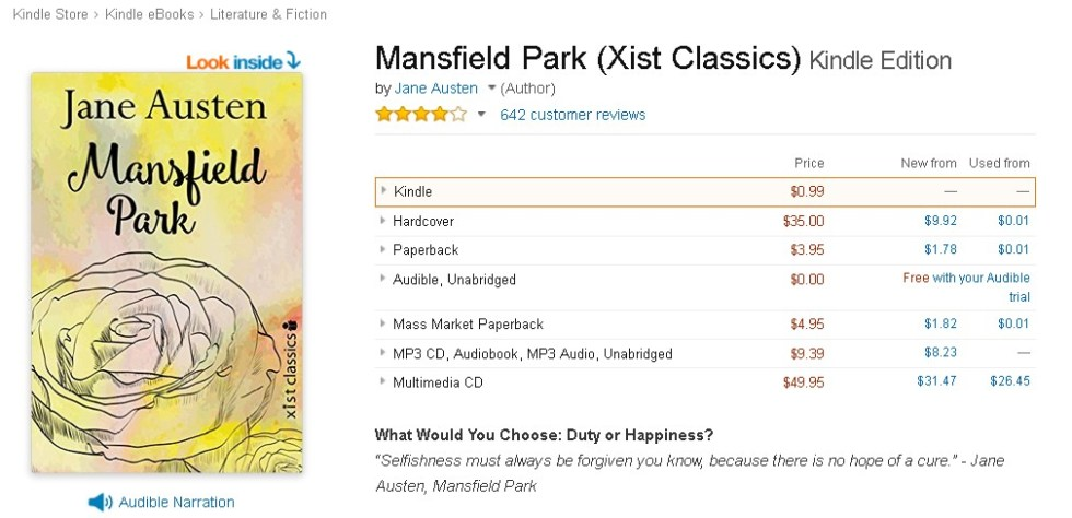 FREE Mansfield Park (Xist Classics) Audible Edition
