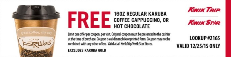 Free 16OZ Regular Karuba Coffee Cappuccino or Hot Chocolate
