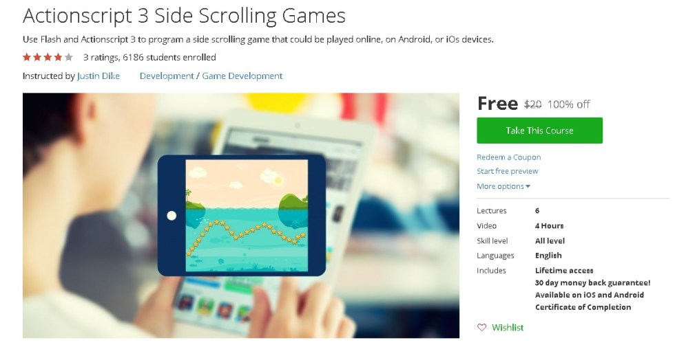 Free Udemy Course on Actionscript 3 Side Scrolling Games