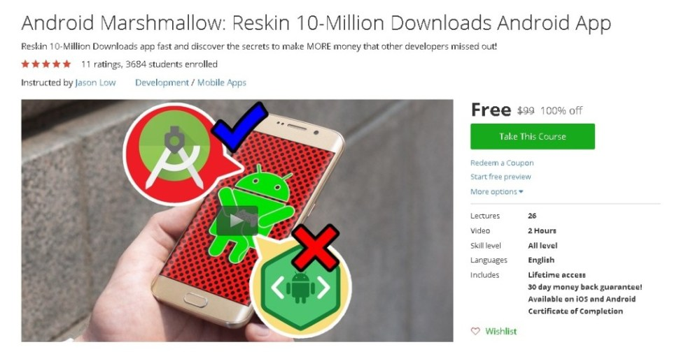 Free Udemy Course on Android Marshmallow Reskin 10-Million Downloads Android App