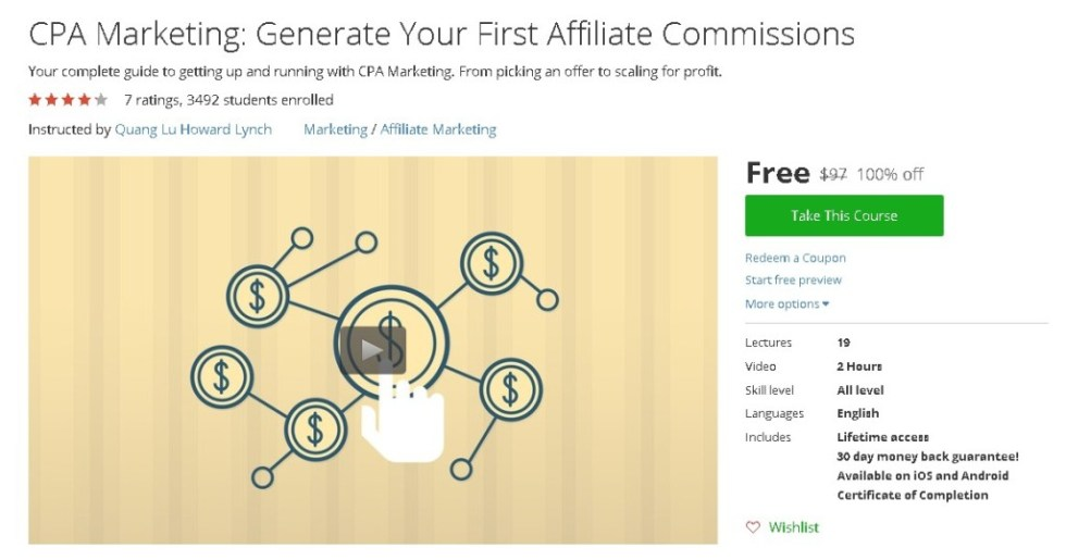 Free Udemy Course on CPA Marketing Generate Your First Affiliate Commissions