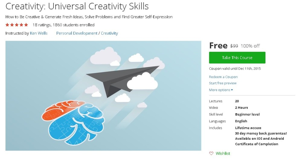 Free Udemy Course on Creativity Universal Creativity Skills