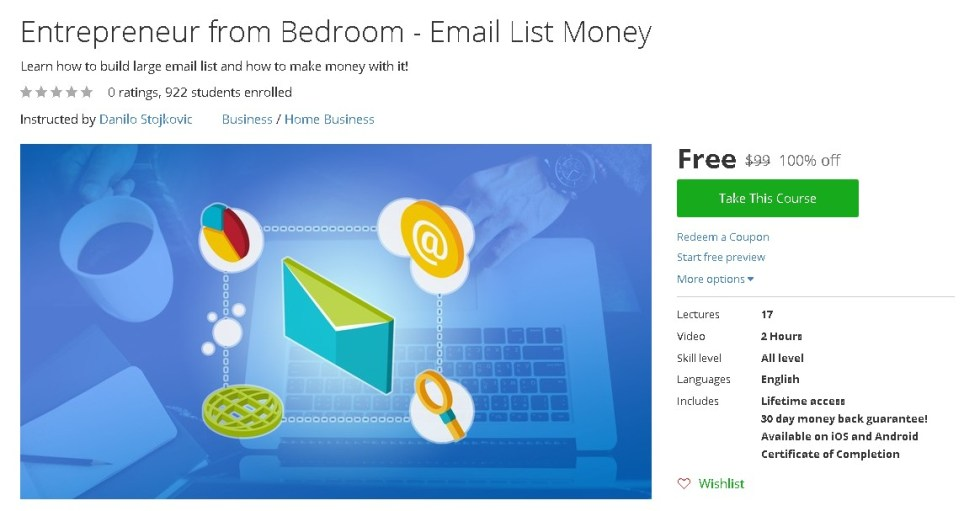 Free Udemy Course on Entrepreneur from Bedroom - Email List Money