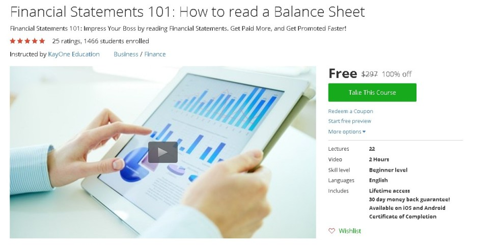 Free Udemy Course on Financial Statements 101 How to read a Balance Sheet