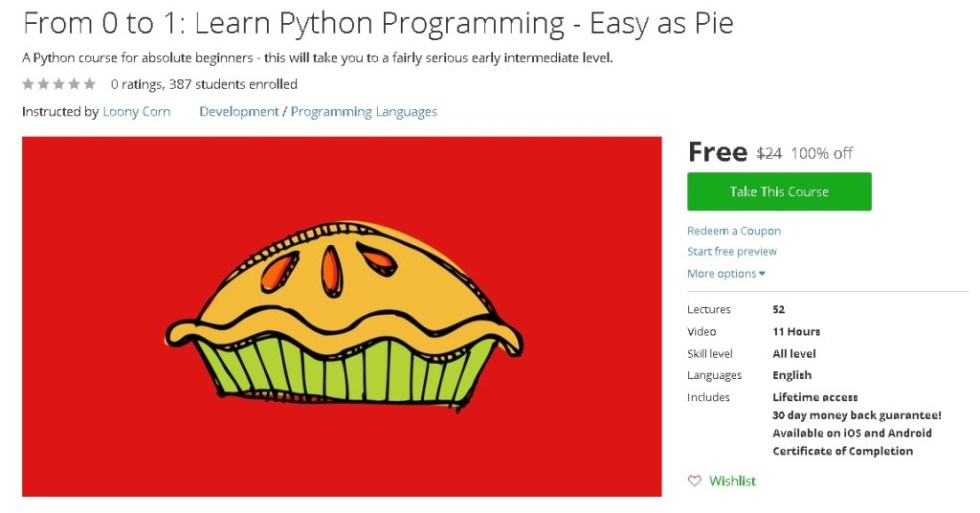 Free Udemy Course on From 0 to 1 Learn Python Programming - Easy as Pie