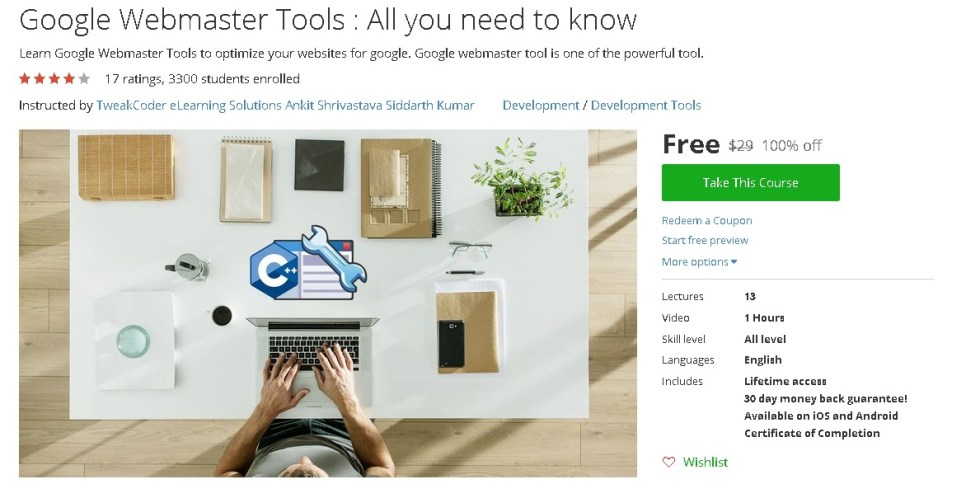 Free Udemy Course on Google Webmaster Tools  All you need to know